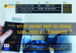 Autorisation de sortie du territoire pour les mineurs à partir du 15 janvier 2017